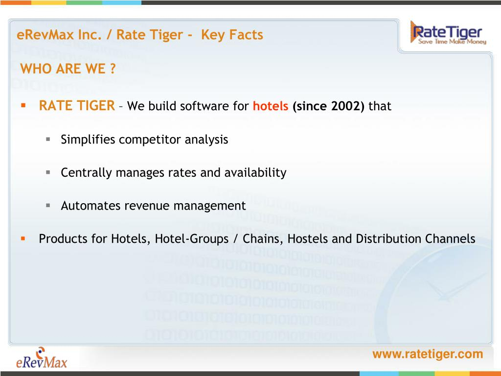 eRevMax Inc. / Rate Tiger -  Key Facts