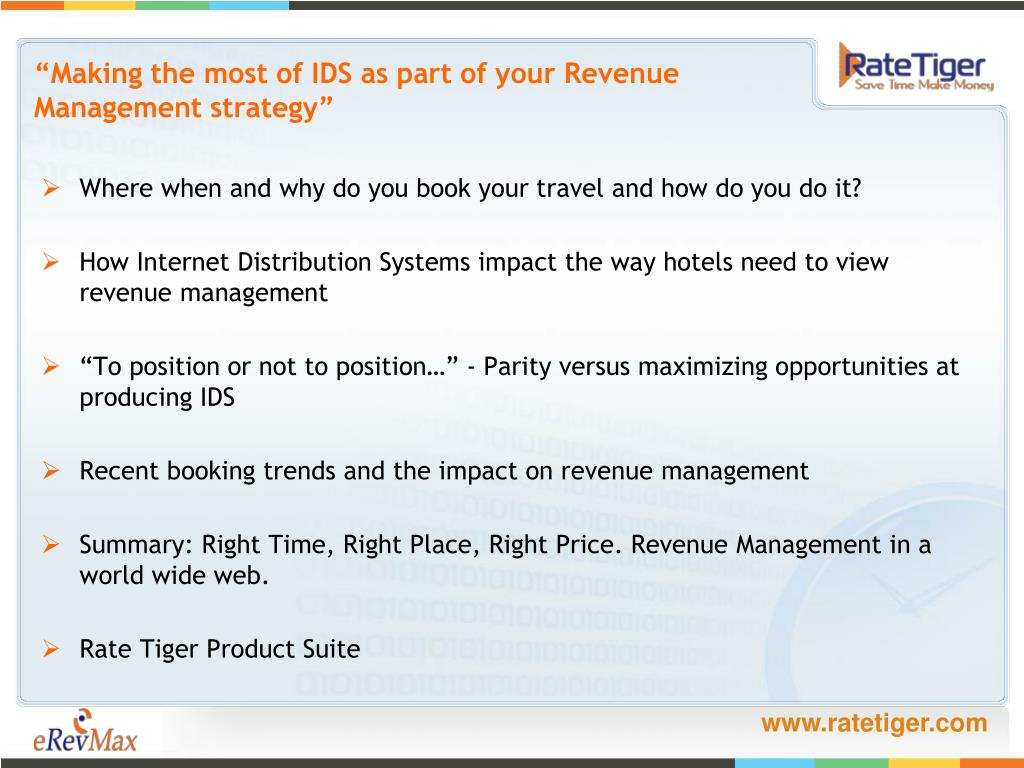 """Making the most of IDS as part of your Revenue Management strategy"""