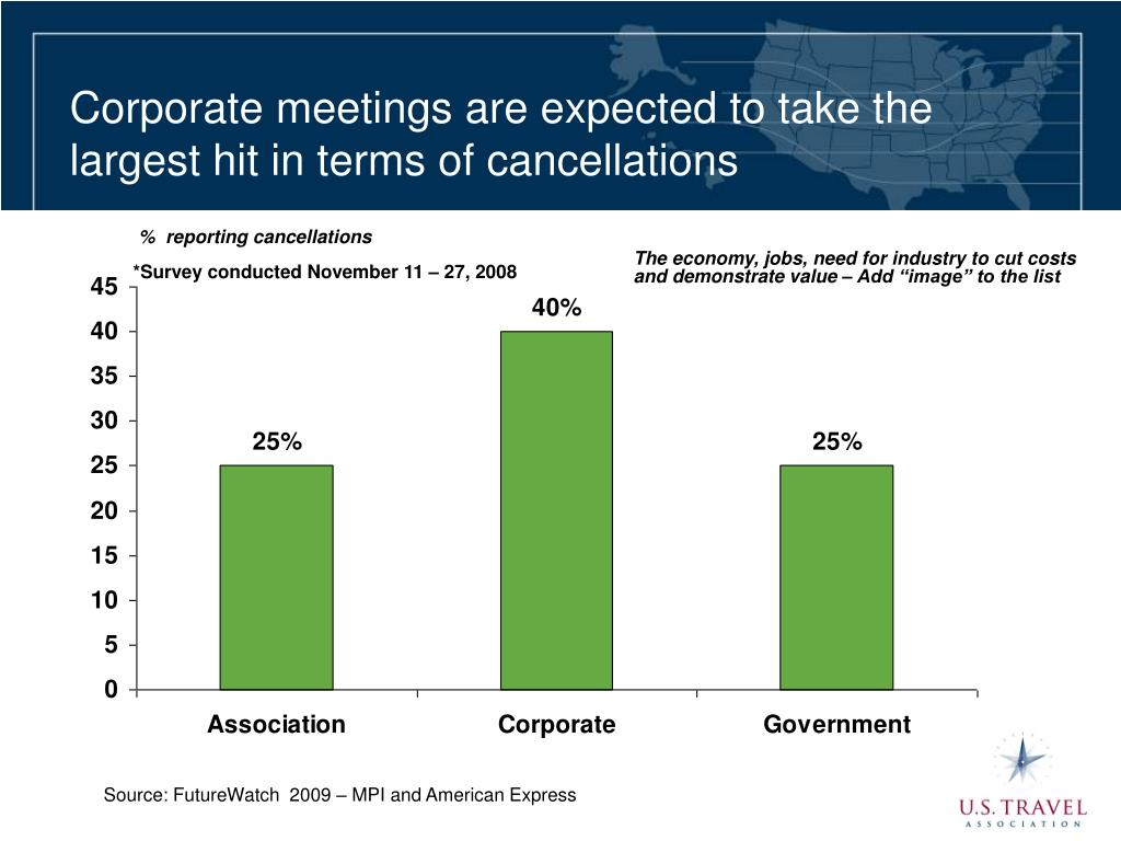 Corporate meetings are expected to take the largest hit in terms of cancellations