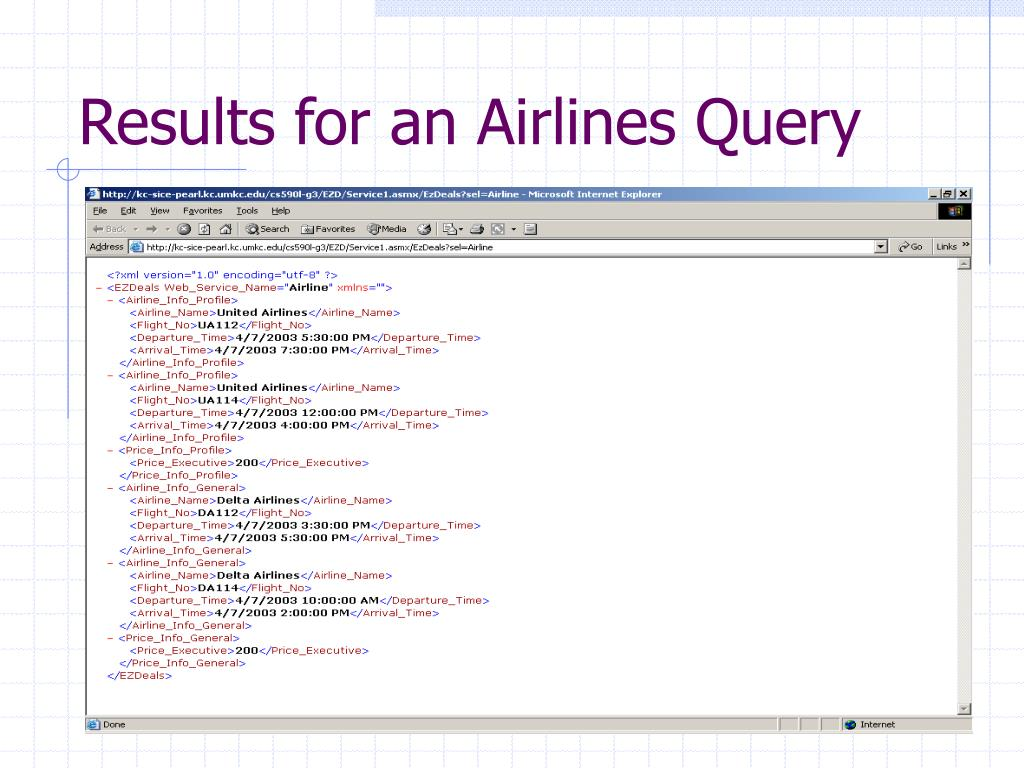 Results for an Airlines Query