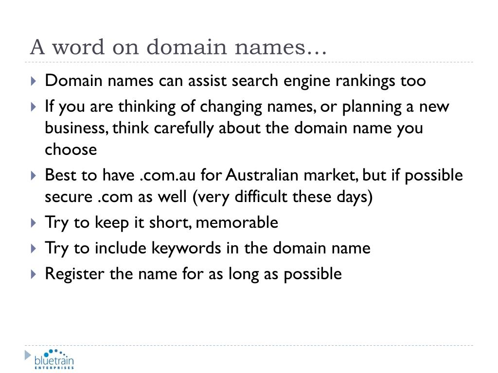 A word on domain names…