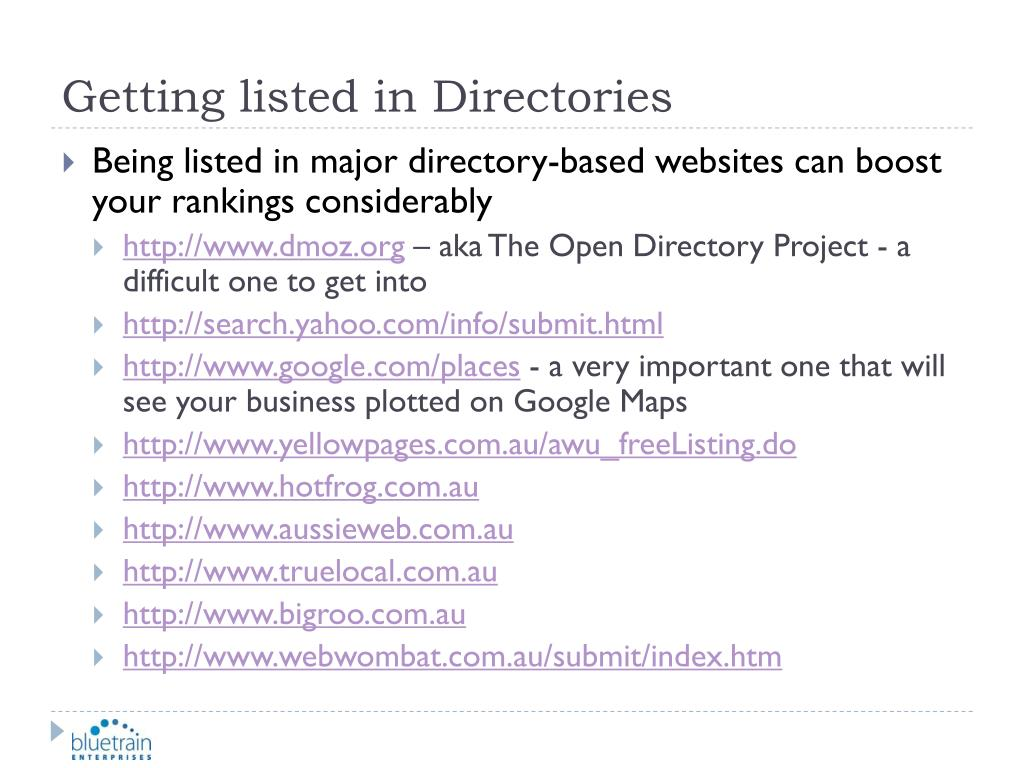 Getting listed in Directories