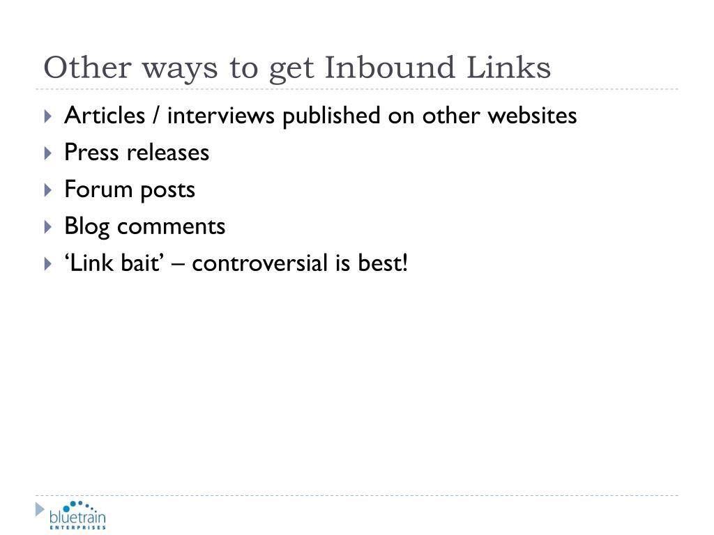 Other ways to get Inbound Links