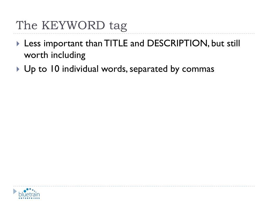 The KEYWORD tag