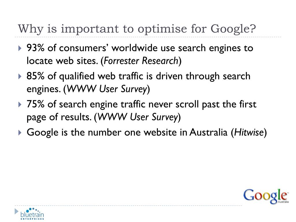 Why is important to optimise for Google?