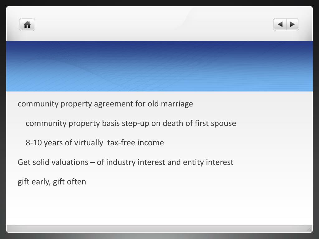 community property agreement for old marriage