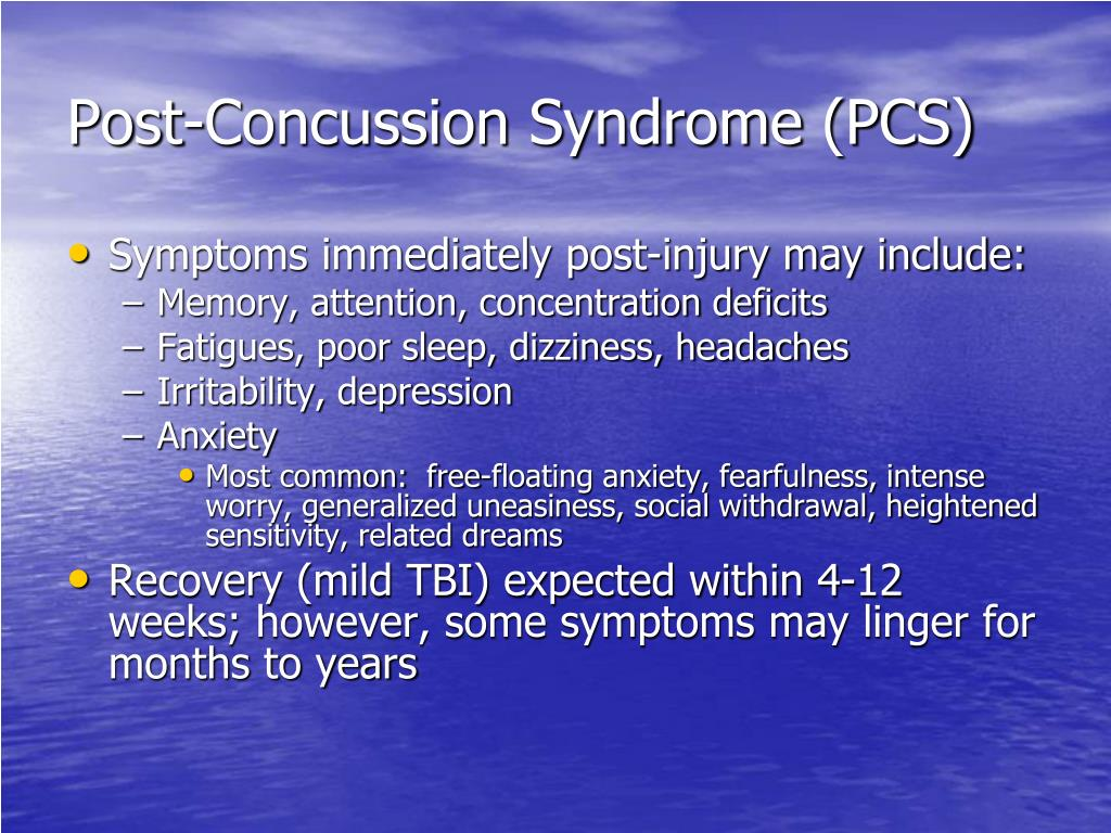 Post-Concussion Syndrome (PCS)
