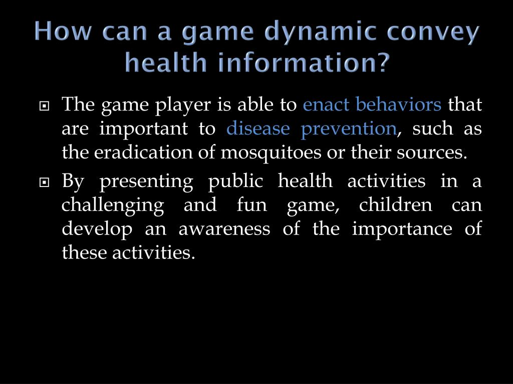How can a game dynamic convey health information?
