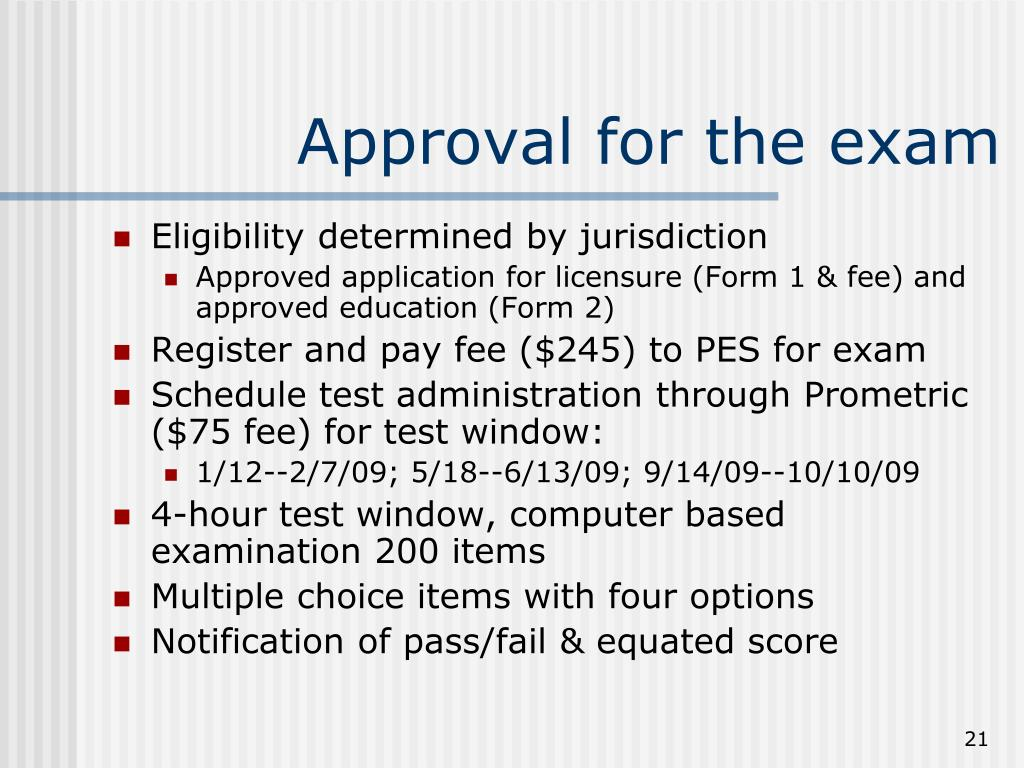 Approval for the exam