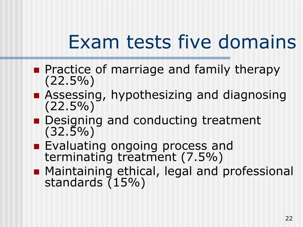 Exam tests five domains
