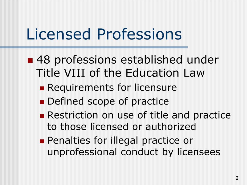 Licensed Professions