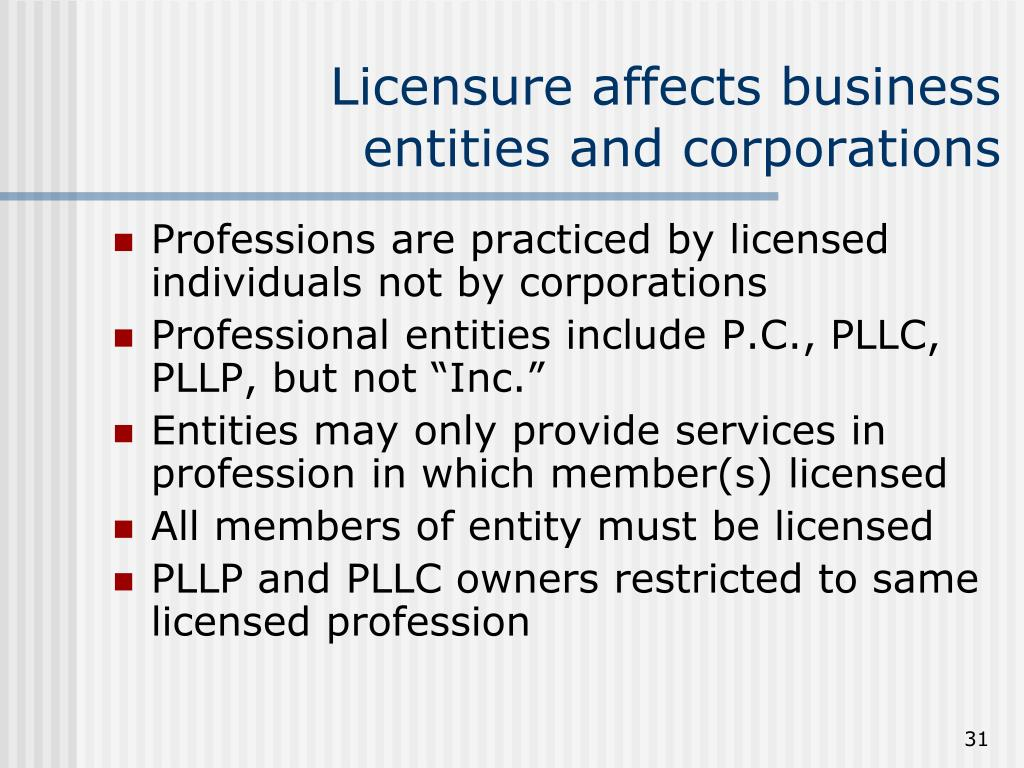 Licensure affects business