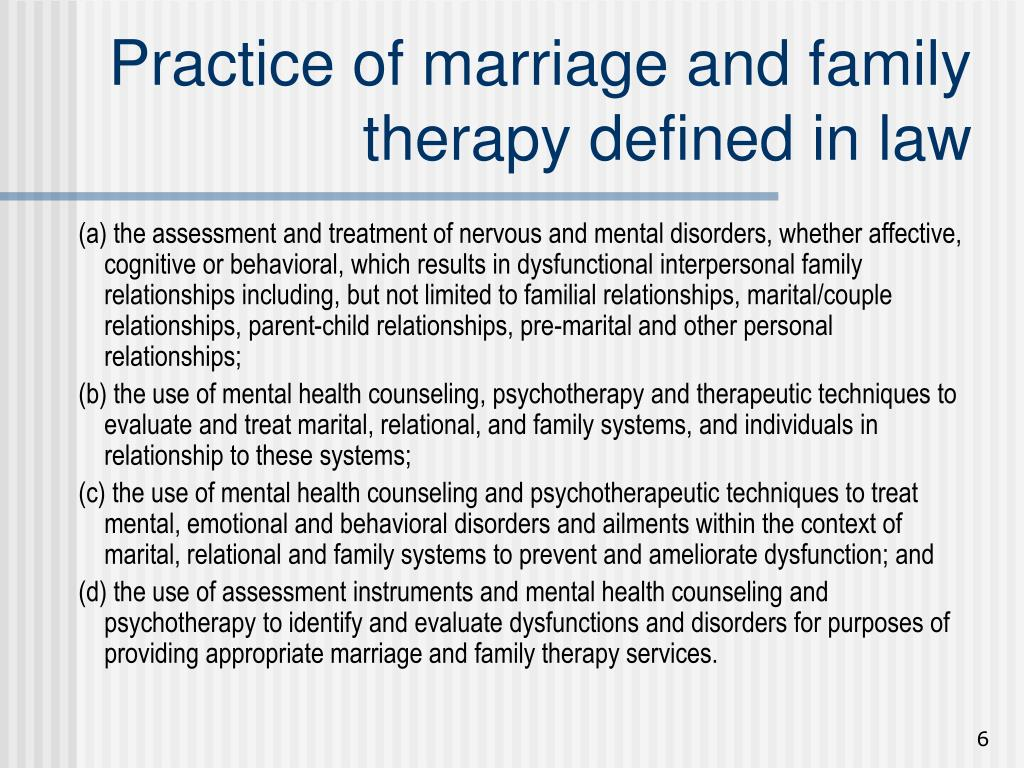 Practice of marriage and family therapy defined in law