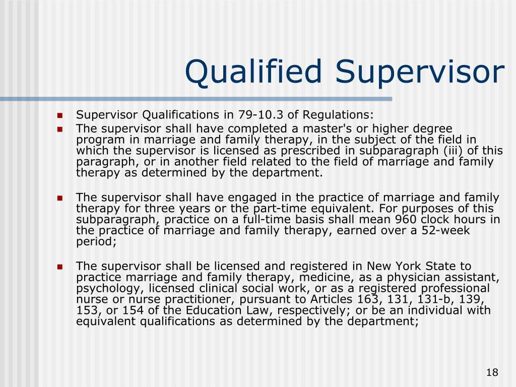 Qualified Supervisor