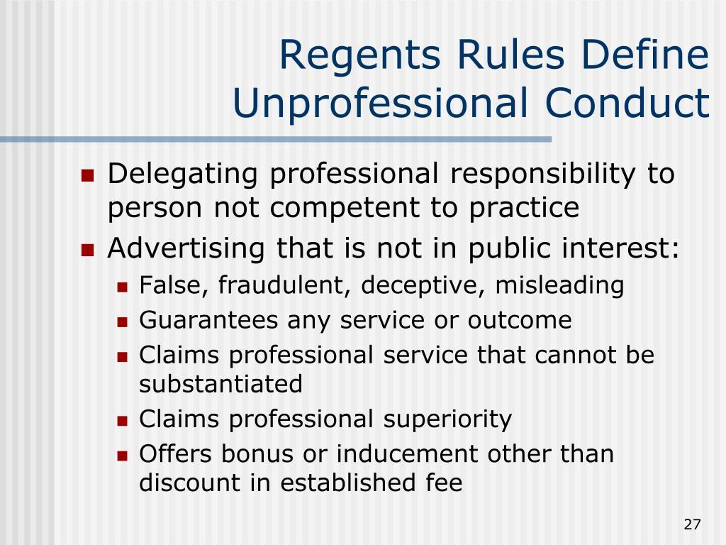 Regents Rules Define Unprofessional Conduct