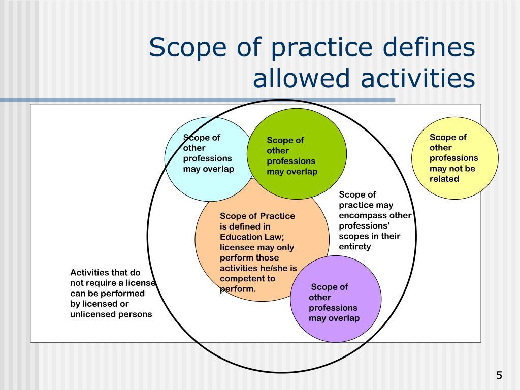 Scope of practice defines allowed activities