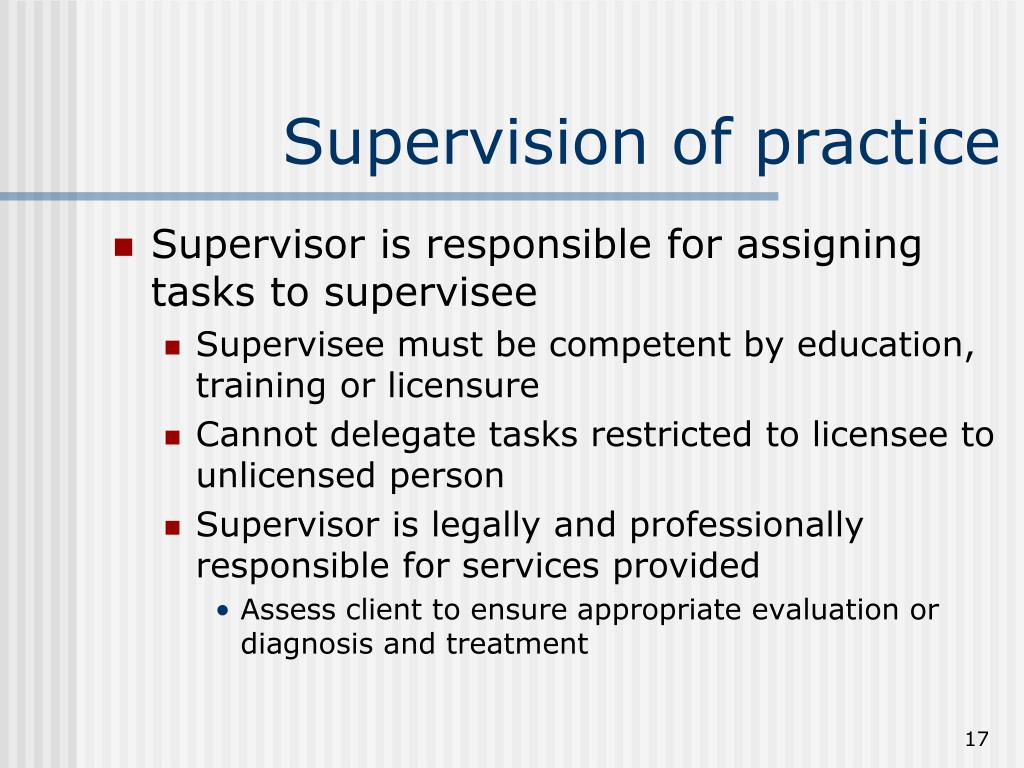 Supervision of practice