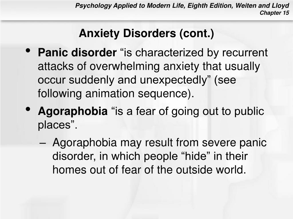 Anxiety Disorders (cont.)