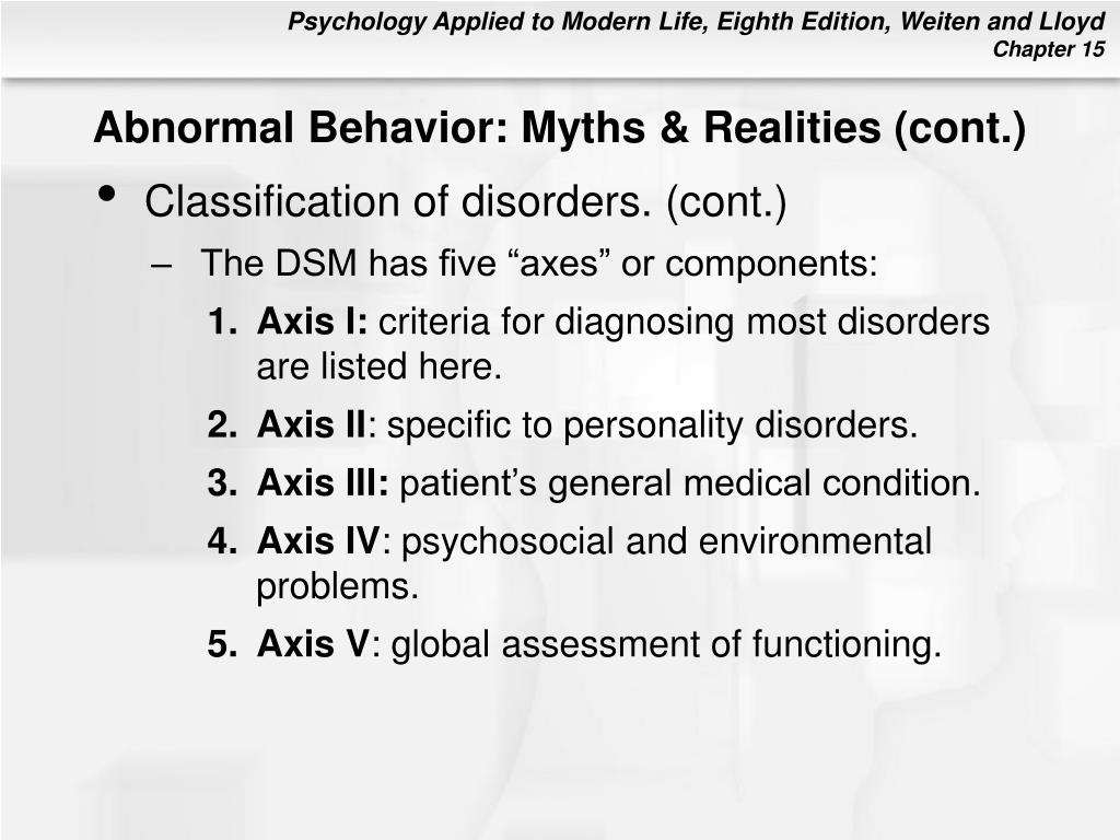 Abnormal Behavior: Myths & Realities (cont.)