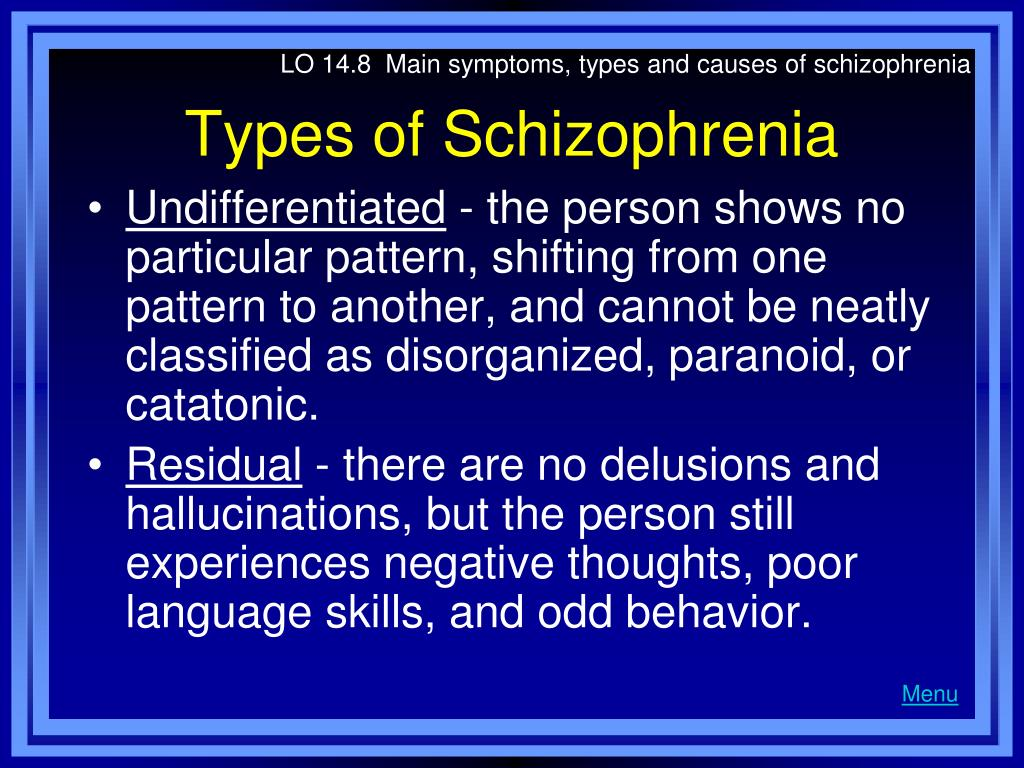 LO 14.8  Main symptoms, types and causes of schizophrenia