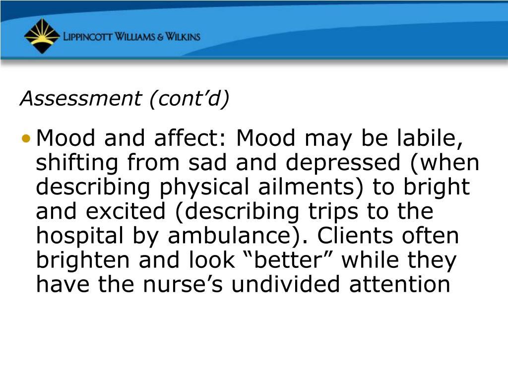 Assessment (cont'd)