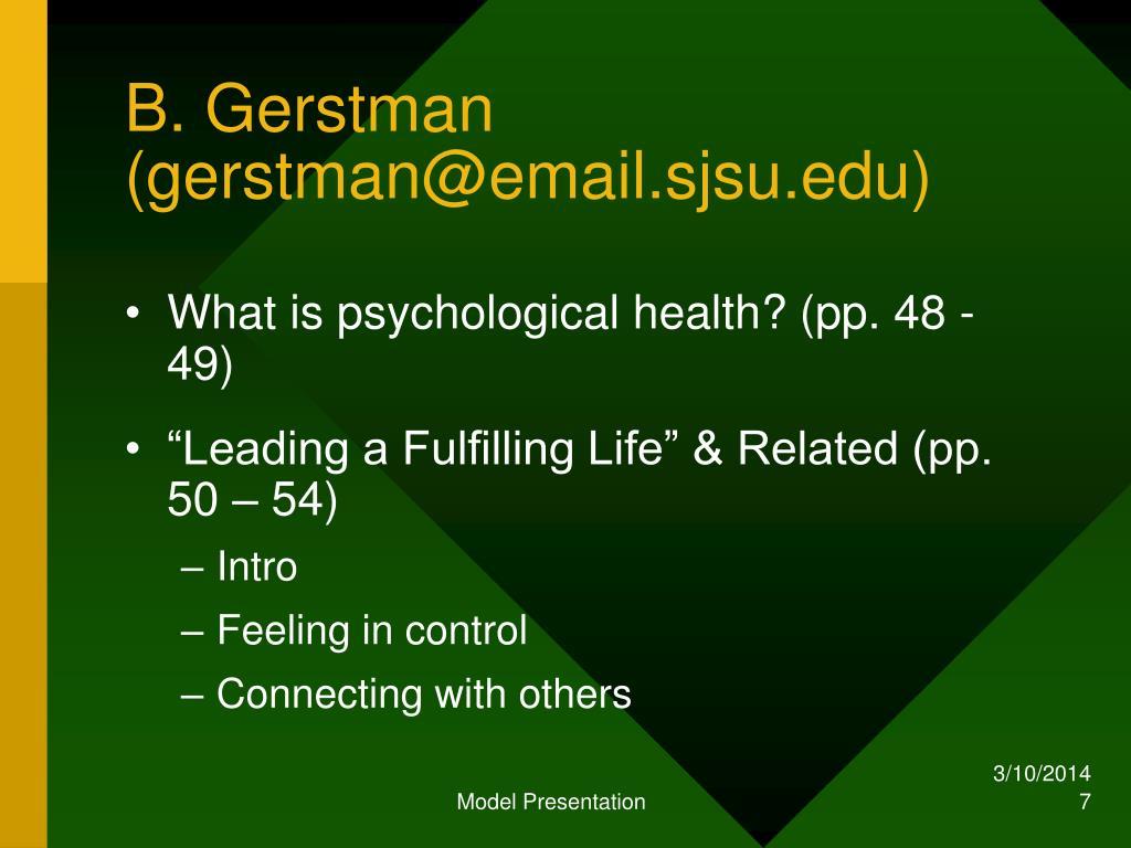 B. Gerstman (gerstman@email.sjsu.edu)