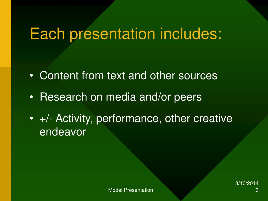 Each presentation includes: