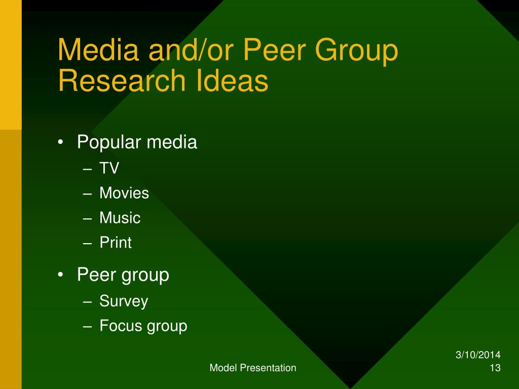 Media and/or Peer Group Research Ideas