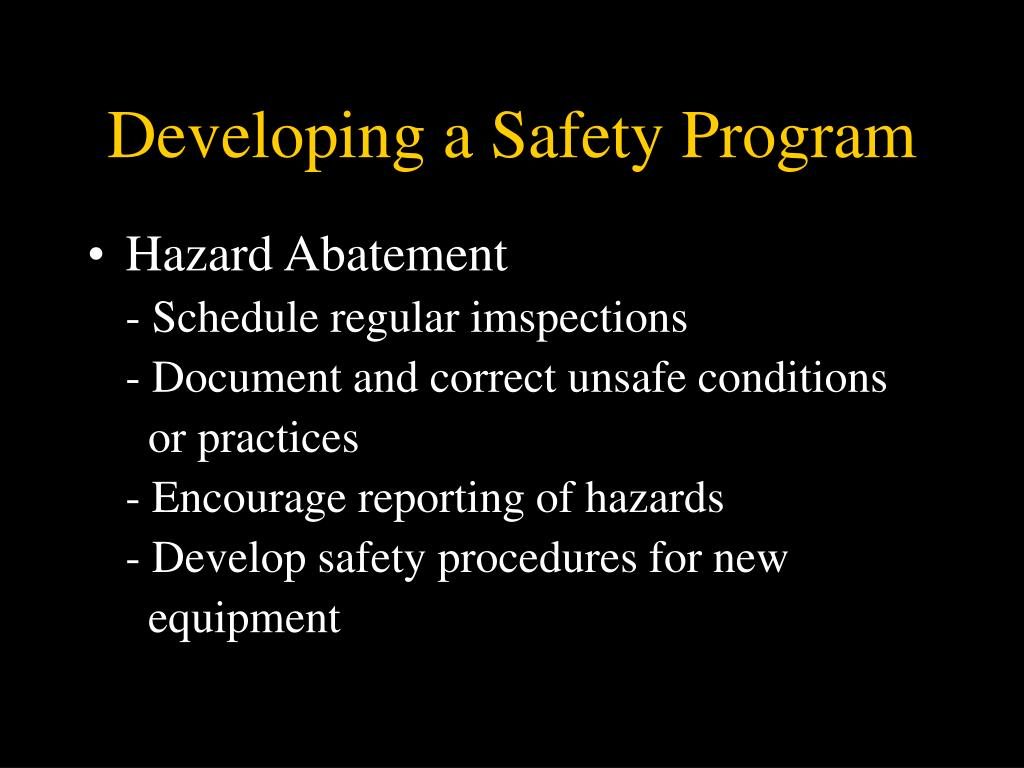 Developing a Safety Program