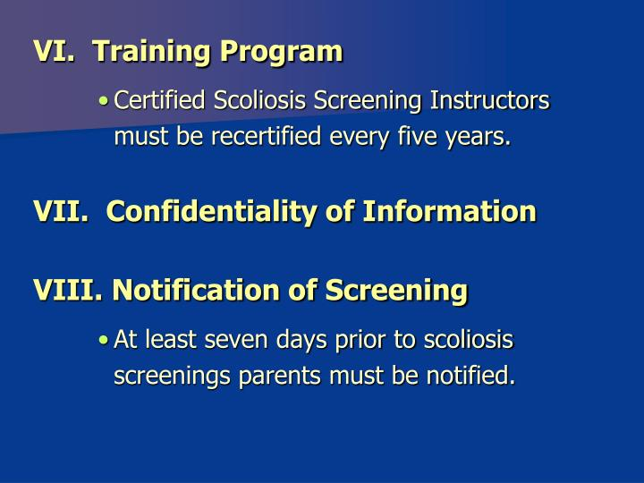 VI.  Training Program