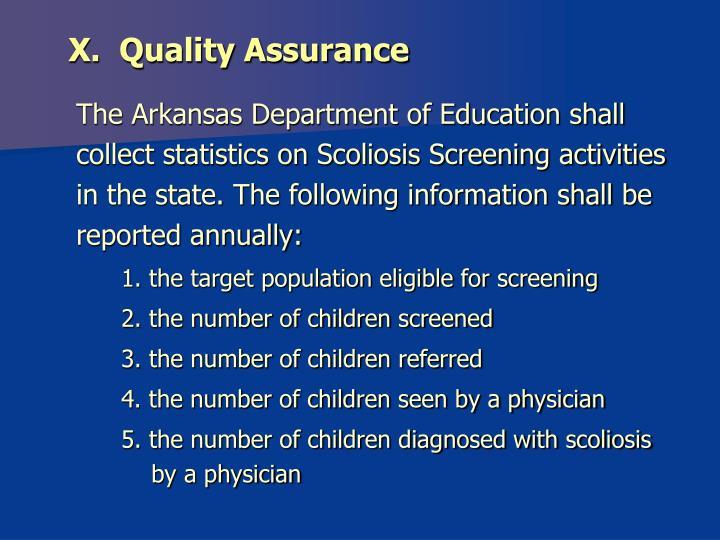 X.  Quality Assurance
