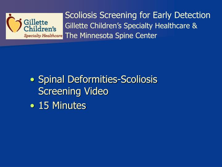 Scoliosis Screening for Early Detection