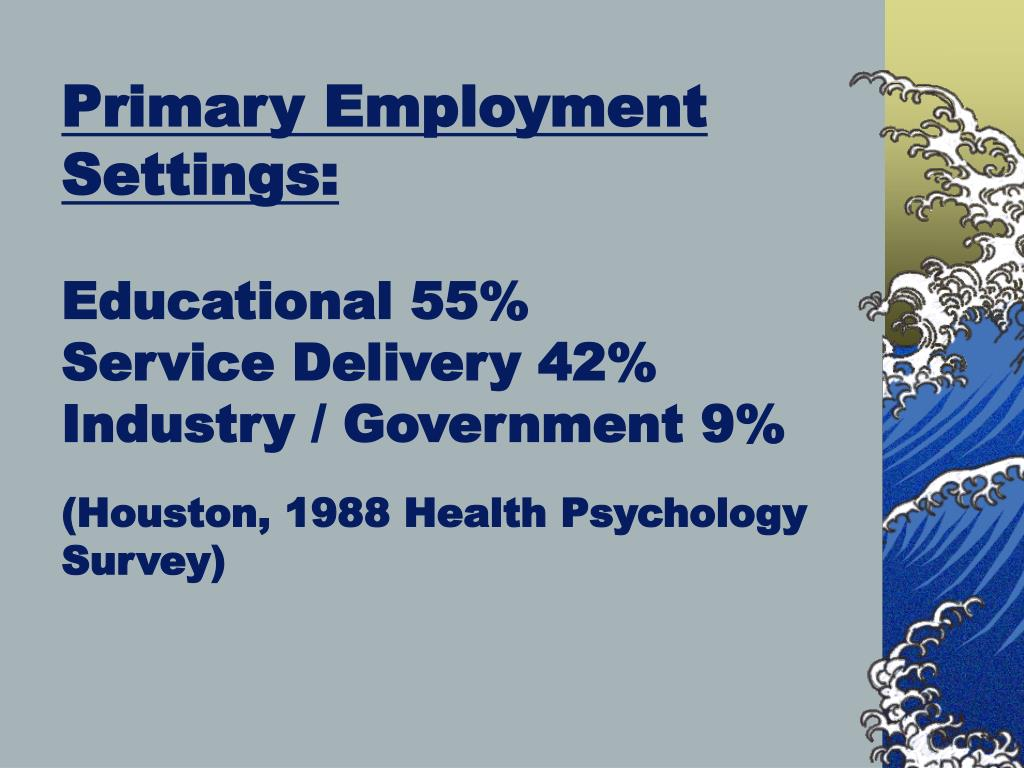 Primary Employment Settings: