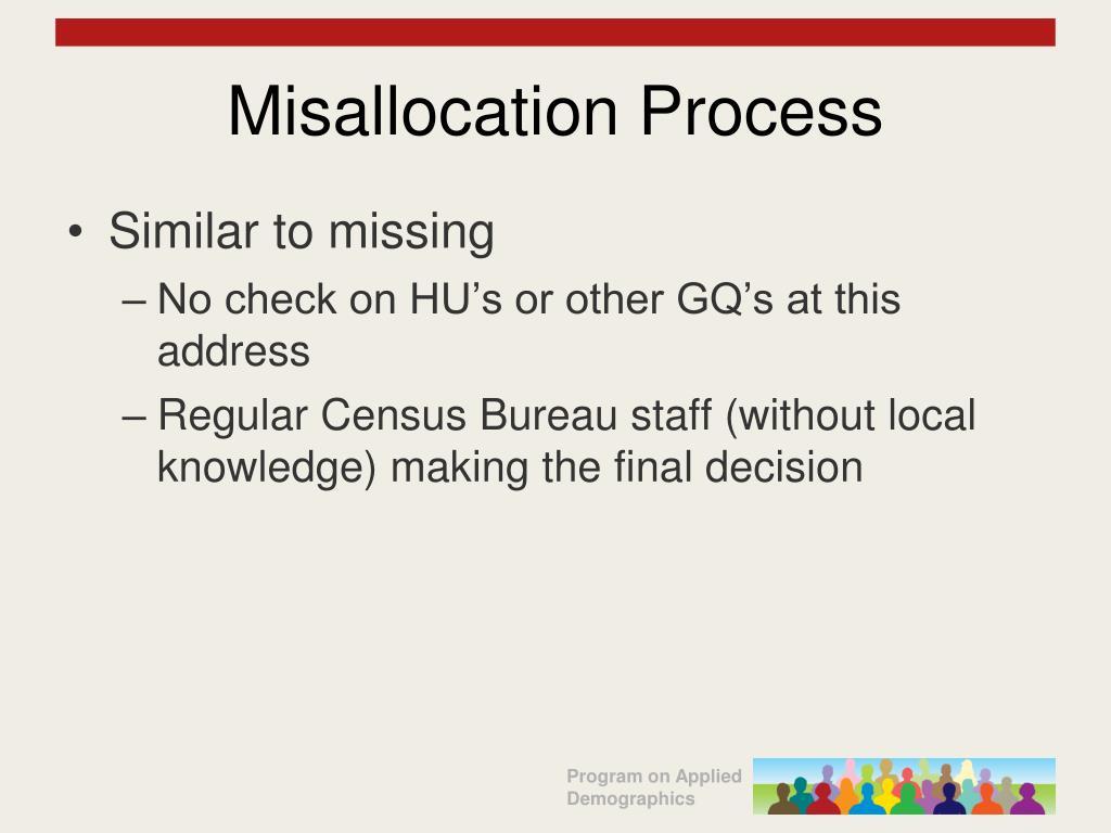 Misallocation Process