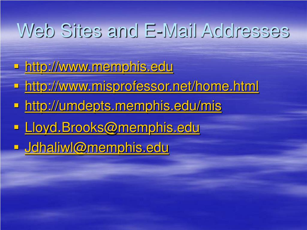 Web Sites and E-Mail Addresses