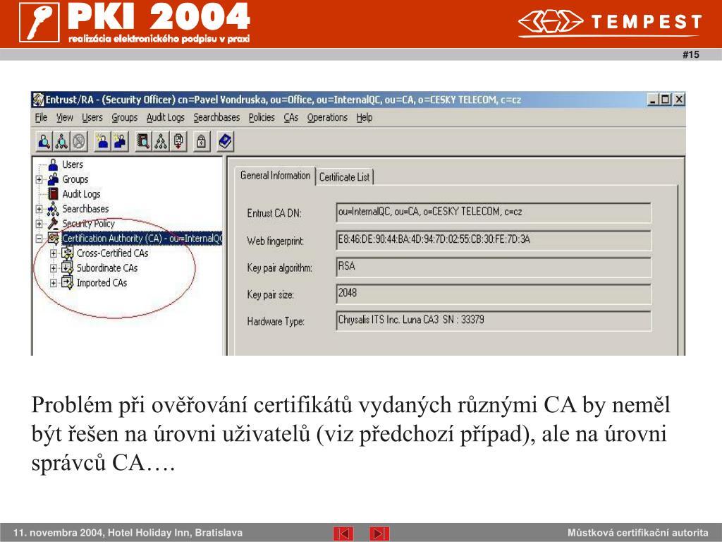 Problém při ověřování certifikátů vydaných různými CA by neměl být řešen na úrovni uživatelů (viz předchozí případ), ale na úrovni správců CA…