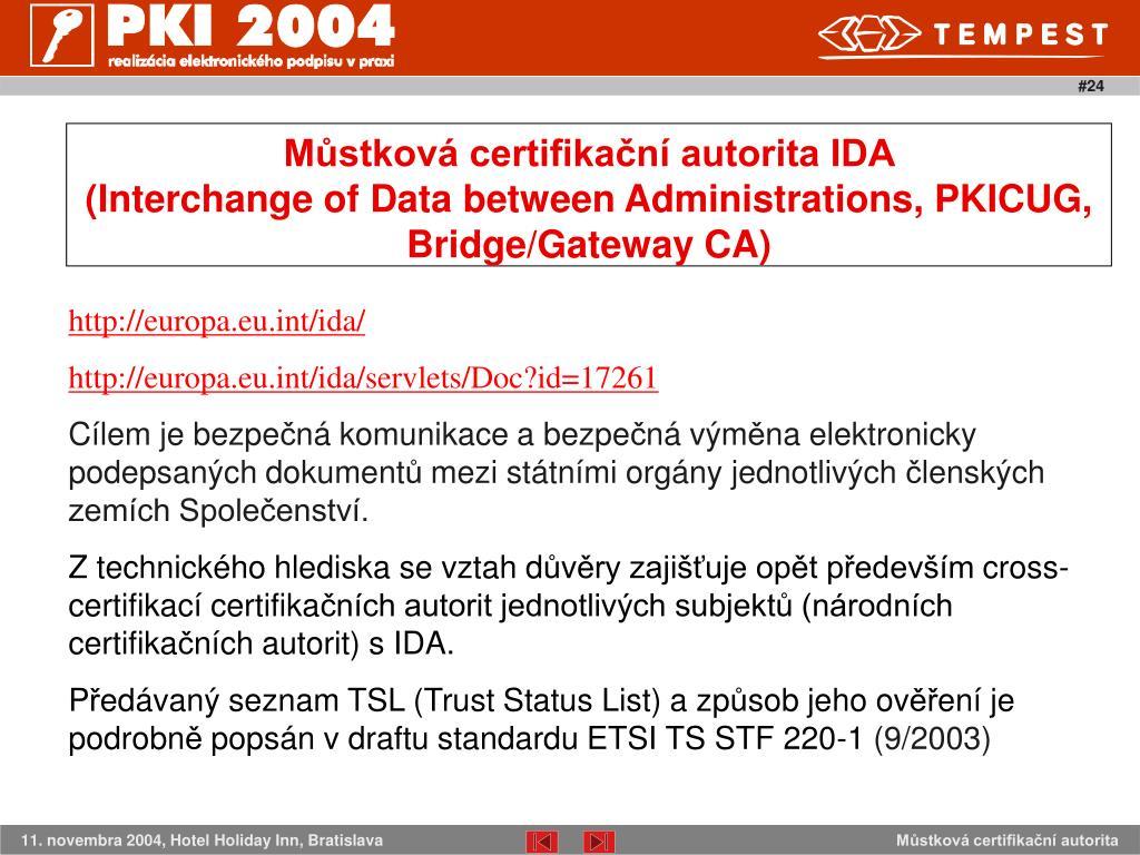 Můstková certifikační autorita IDA