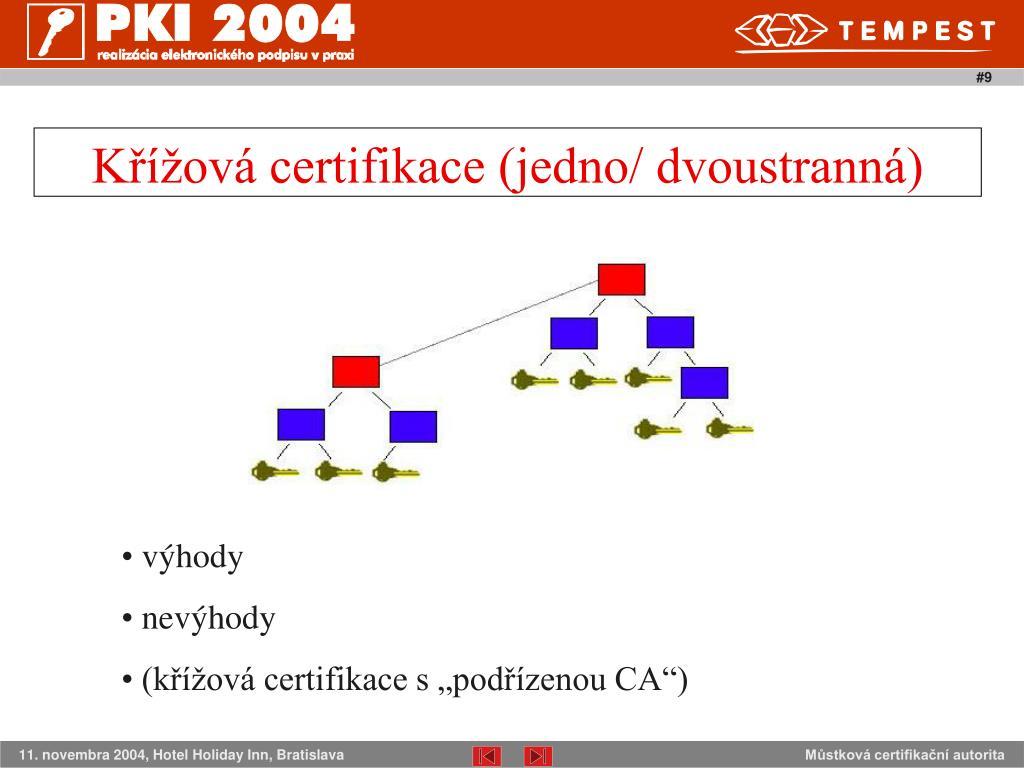 Křížová certifikace (jedno/ dvoustranná)