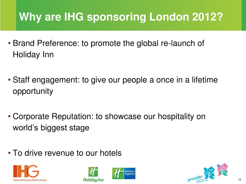 Why are IHG sponsoring London 2012?