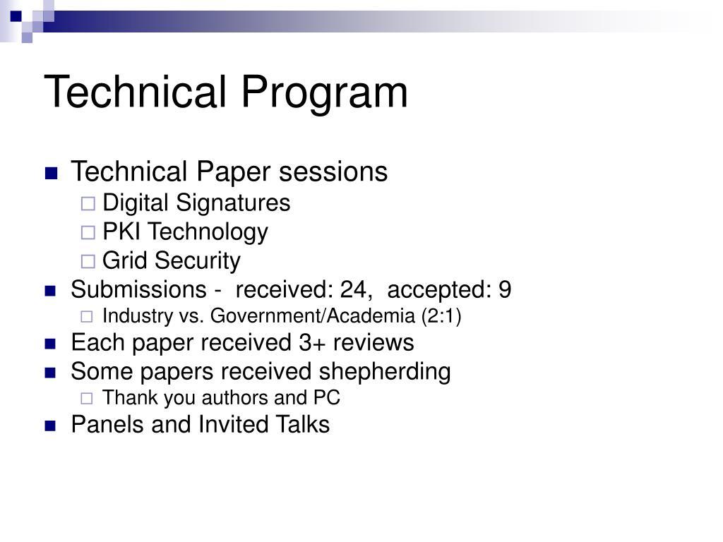 Technical Program