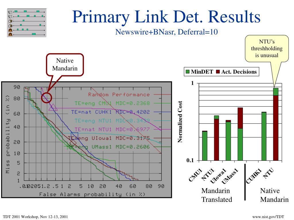 Primary Link Det. Results