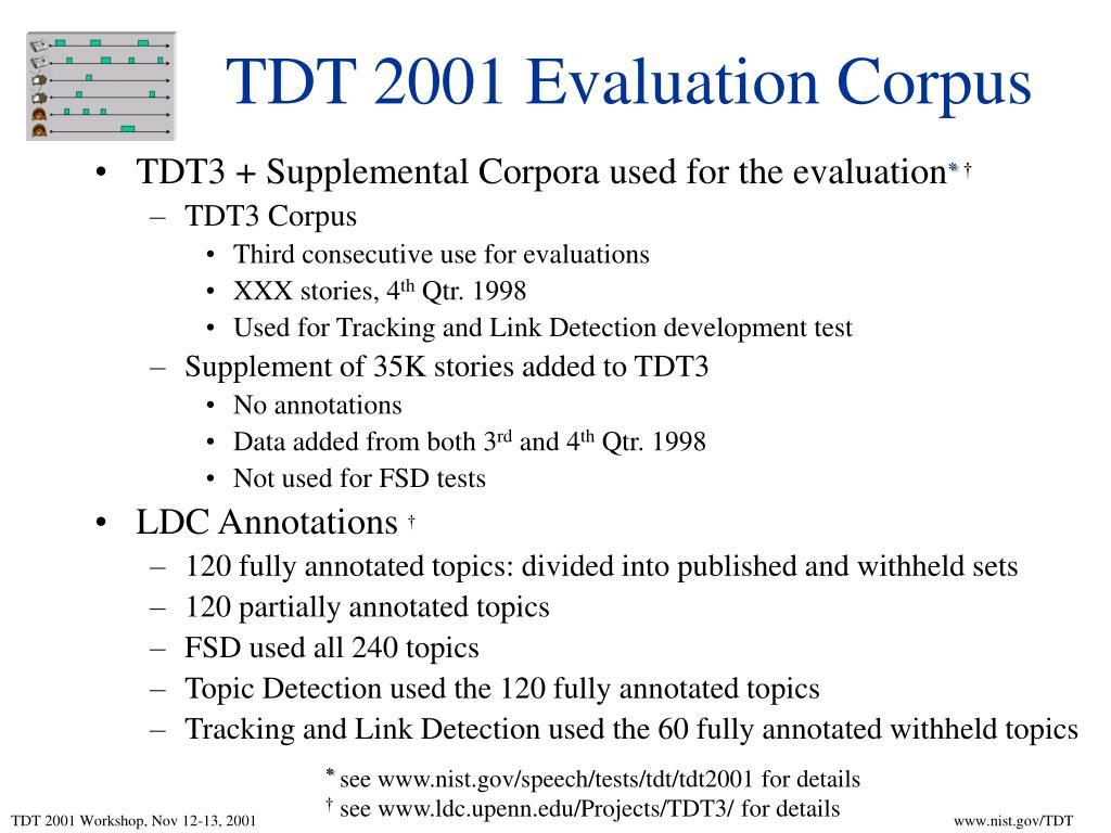 TDT 2001 Evaluation Corpus