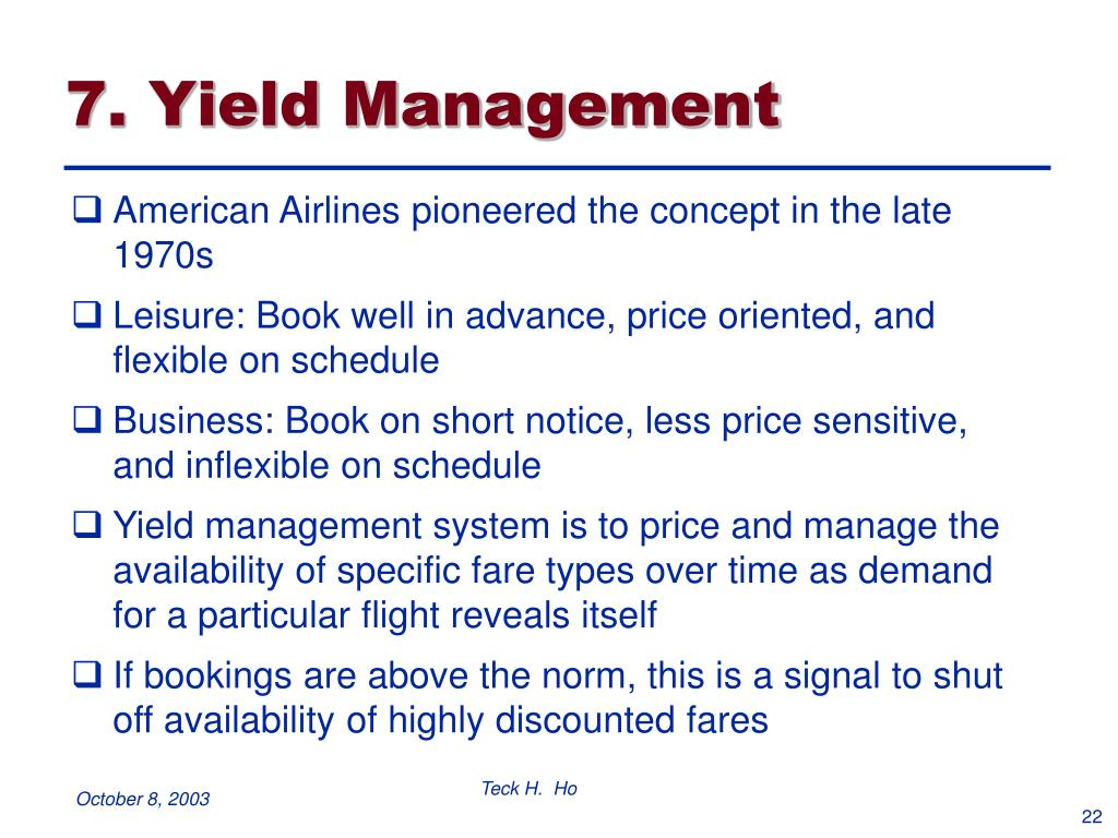 7. Yield Management