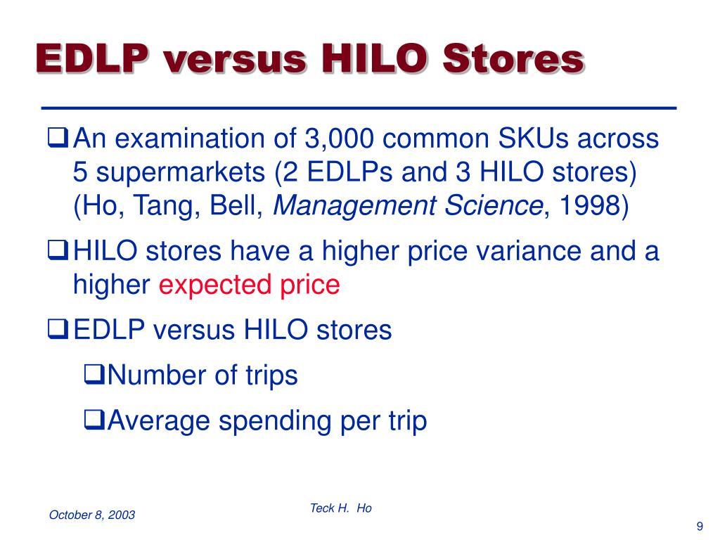 EDLP versus HILO Stores