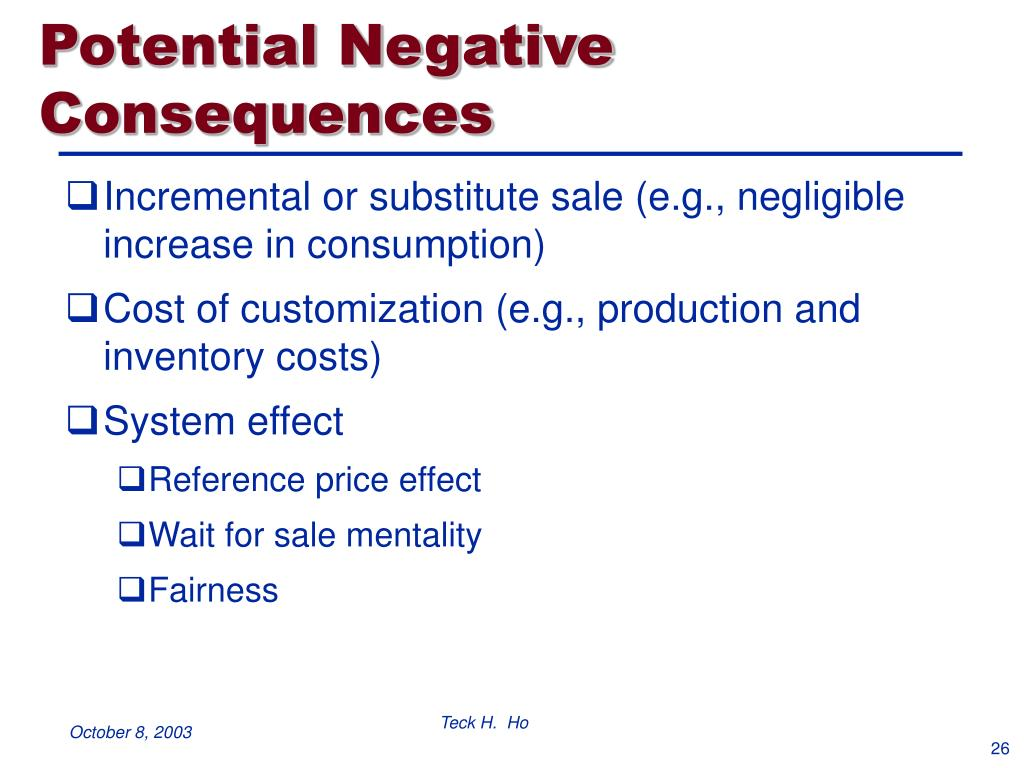 Potential Negative Consequences