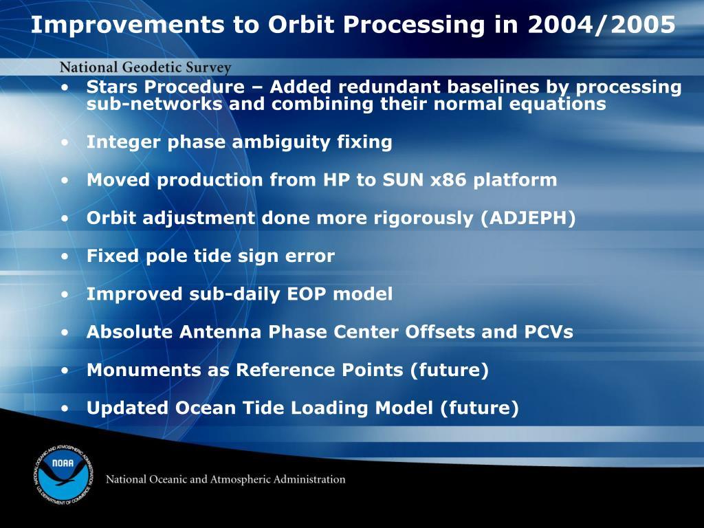 Improvements to Orbit Processing in 2004/2005
