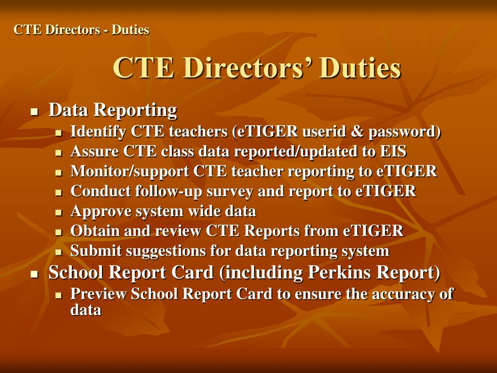 CTE Directors - Duties