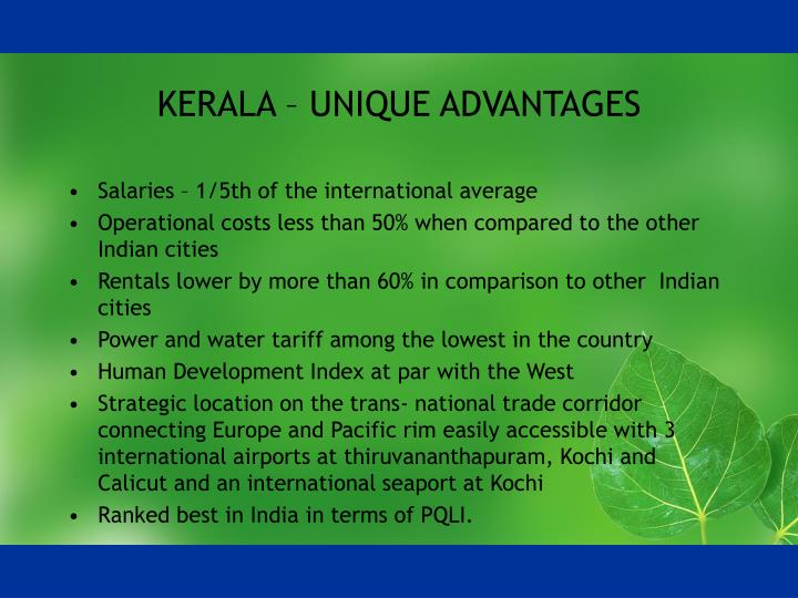 Kerala unique advantages