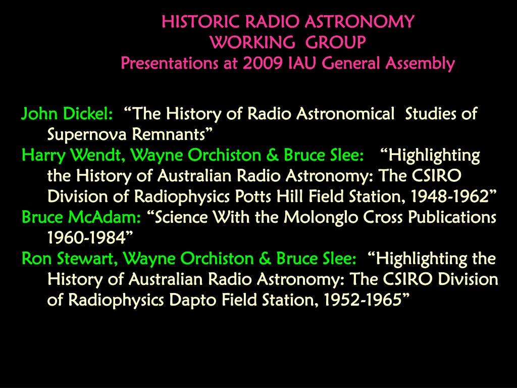 HISTORIC RADIO ASTRONOMY