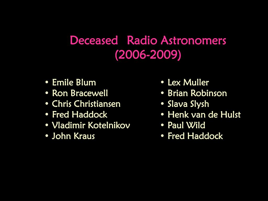 Deceased Radio Astronomers